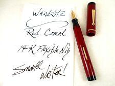 Vintage 1920's WARDRITE Fountain Pen ~ OVERSIZE Cherry Red ~ 14K Flex BROAD Nib