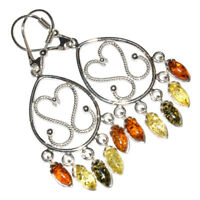 9.5g Authentic Baltic Amber 925 Sterling Silver Earrings Jewelry N-A8186A