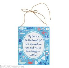 Wooden Hanging Nautical By The Beautiful Sea Wall Sign Plaque