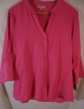 REBECCA MALONE SIZE XL MAGENTA 3/4 SLEEVE  SHIRT STRETCHY TEXTURED BUTTON-UP TOP