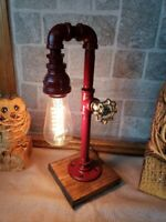 Handcrafted Retro Industrial Pipe desk lamp with valve on/off switch