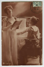 c 1905 vintage Lovely SINGER w/ PIANO traut lovely lady photo postcard