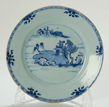 Blue & White Porcelain Export Plate Waterside Scenic - Qianlong Chinese Antique