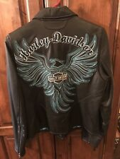 Womens Harley Davidson Black Leather Coat Embroidered Stitched Medium NEW