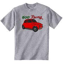 Vintage Italiano coche Fiat 500 Racing-Nuevo Algodón Camiseta