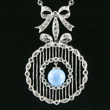 18k White Gold Diamond & Turquoise Necklace w/Ribbon Bow Design & Bar Chain