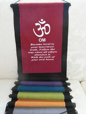 Inspirational Balinese affirmation wall hanging banner - OM - 6 colours