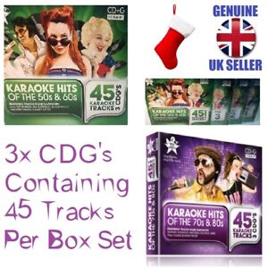 KARAOKE HITS of the 50s & 60s or 70s & 80s CD+G 3x CD's 45 Tracks per Box Set