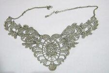 Great silver tone metal statement style filigree paneled DIVA 42-48 cms long