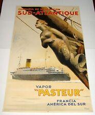 ORIG 1938 COMPAGNA DE NAVIGACION SUD-ATLANTIQUE VAPOR PASTEUR OCEAN LINER POSTER
