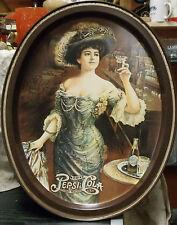 "Vintage Pepsi Cola Soda Pop Oval Metal Serving Tray Gibson Girl 11.5"" x 14.5"""