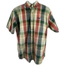 Chaps Ralph Lauren Large Button Down Shirt Mens Plaid 100% COTTON Short Sleeves