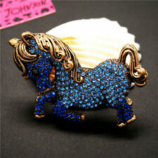 New Betsey Johnson Blue Rhinestone Cute Pony Horse Crystal Brooch Pin Gifts