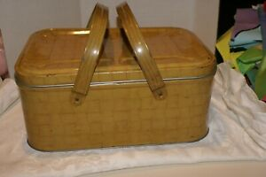 """Vintage Metal/Tin Wicker-Look Picnic Basket 2 HANDLES 14"""" X 10"""" X 6""""H SMALL DING"""