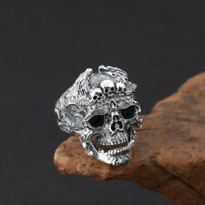 Skull Ring - 925 Sterling Silver - Biker Jewelry Large Size Skulls