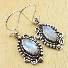925 Silver Plated Over Solid Copper Earrings ! Fiery RAINBOW MOONSTONE 1.7""
