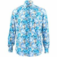 Men's Loud Shirt Retro Psychedelic Funky Party TAILORED FIT Turquoise Floral