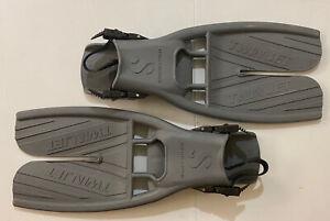 ScubaPro TWIN JET Open Heel SPLIT FIN Scuba Fins Gray LARGE - Great Condition