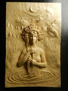 Wood carved picture wall decoration plaque. Midsummer night swimming.