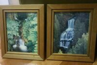 """Lot Of 2~BEAUTIFUL~WATERFALL~IMAGES~IN ~PECAN~W/FRAMES~12""""×8•Unbranded"""