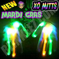 NEW! XBone XO Mitt LED Gloves  BLUE GREEN ORANGE LEDS Rave Light Up Flashing FUN