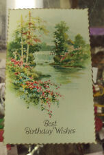 Vintage Birthday Card - Best Birthday Wishes with The Lamplighter Poem on back