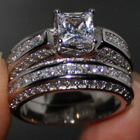 Size 6-11 Deluxe Engagement Topaz Diamonique 925 Silver Wedding Band Ring Set