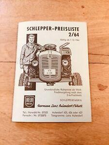 Schlepper-Preisliste HELA Diesel Hermann Lanz, Ausgabe 2/64