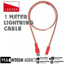 LANDER Neve Rugged Flat Nylon Lightning Cable With Accessory Case 1 METER RED