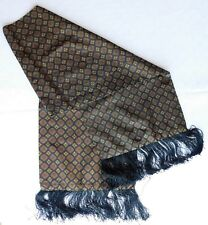 Mens scooter scarf with traditional pattern and black fringe vintage 1950s 1960s