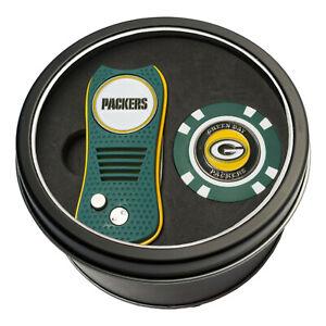 NFL Green Bay Packers Golf Poker Chip + Switchblade Divot Tool Tin Gift Set