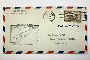 1929 Canadian First Flight Commemorative Covers Windsor To Toronto Envelope 840B