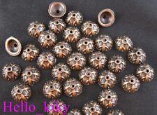 100 pcs Antiqued copper plt corolitic bead caps A163