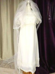 Robe de mariée vintage 80'S Droite longue traine Taille FR38 US6 UK10 EUR36