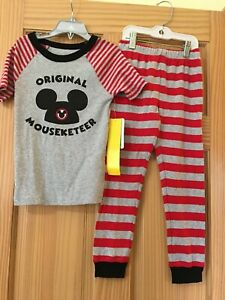 New Disney store Mickey Mouse Pajama Set Original Mouseketeer Gray and Red