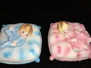"Lot Of 2 Enesco Trinket Boxes Baby Boy And Baby Girl 4"" X 4"" X 3"" Baby Gifts"
