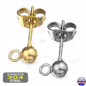 STAINLESS STEEL BALL EARRING POST Ear Stud 4mm with open ring Findings 514