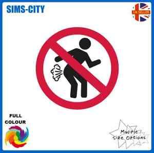 NO FARTING WORK OFFICE SCHOOL TRUMP FART WIND SMELL STICKER SIGN FRT105