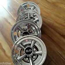 "(4) 8"" SS Chrome Universal Golf Cart Hub Caps Wheel Covers  8 inches chennic"