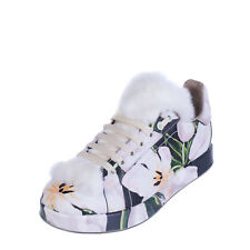 DOLCE & GABBANA Leather Sneakers EU 36.5 UK 3.5 Real Fur Made in Italy RRP €910