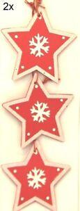 6 Pc. Tree Ornaments Star 6,5cm Red White Christmas Window Decor