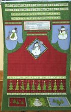 "1 Debbie Mumm ""Top Hat Snowman Apron"" Christmas Fabric Panel"