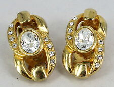 VINTAGE COSTUME GOLD PLATED & DIAMANTE CLIP ON EARRINGS 1980s