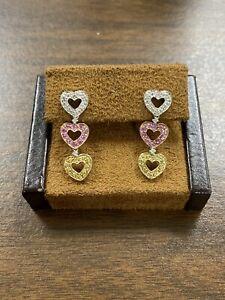 Pretty 14KT Yellow, White , Rose Gold Heart Drop Earrings W/ Diamonds & Topaz