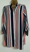 NEW Ex Ev-ns Size 16 18 Striped Pink White Black Chiffon Blouse Shirt Top