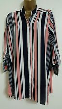 NEW ExEv-ns Plus Size16-28 Striped Pink White Black Chiffon Blouse Shirt Top