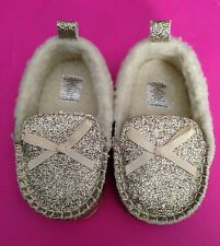 Infant Girl Shoes Rising Star Gold  sparkle Lambswool Size 6-9 Months NWOB