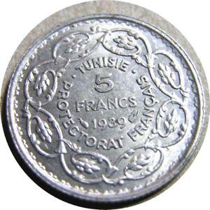 elf Tunisia French 5 Francs AH 1358  AD 1939  Silver  World War II