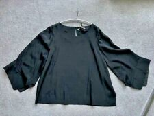 NWT Halston Heritage Black A line Top with fluted sleeves US12, UK16