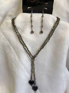 Swarovski Crystal Necklace & Earring Set Multi Color Crystals Heart Shape Stones
